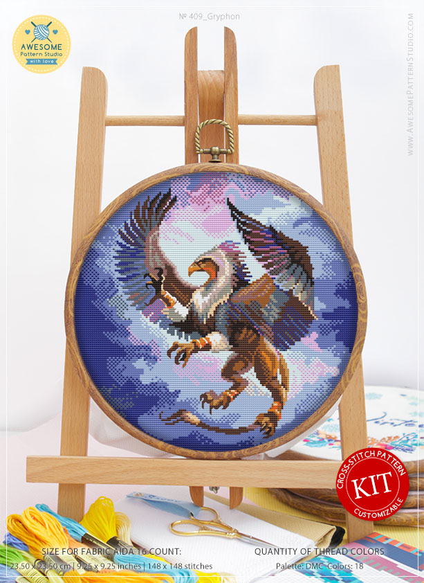 Counted Cross Stitch Kit, Gryphon #K409