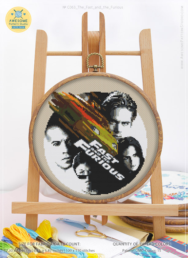 The Fast and The Furious K063 Counted Cross Stitch KIT#2 Fabrick and 4 Printed Color Schemes Inside Needles Embroidery Pattern Kit Threads