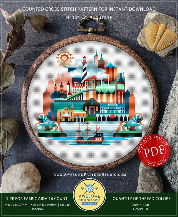 St Augustine Quotes On Human Nature: St Augustine, Florida #P104 Cross Stitch Pattern